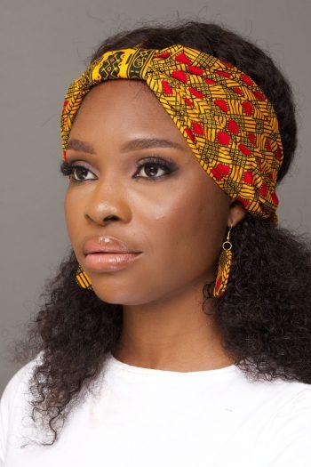 African Print Ankara Ribbon Front Turban Headband in Yellow by Naborhi