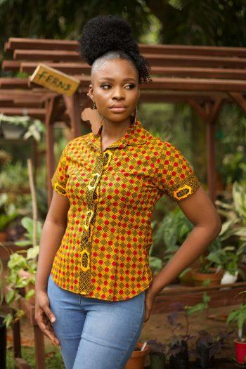 African Print Short Sleeve Shirt in Yellow Ankara by Naborhi