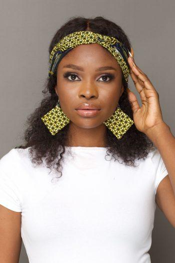African Print Twist Front Headband with Matching Diamond Earrings - KETA by Naborhi