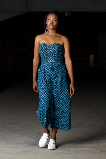 Blue_Black Ankara Strapless Crop Top and Matching Culottes - MOSI by Naborhi