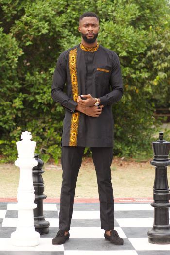 CHIDI Long Sleeve African Suit with Razor Blade Embroidery