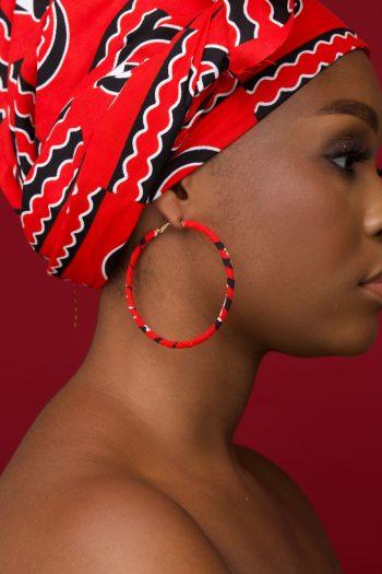 JELA Ankara Hoop Earrings with Matching Head Wrap by Naborhi