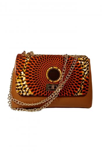 JOLASUN African Print Ankara Leather Bag in Brown by Naborhi