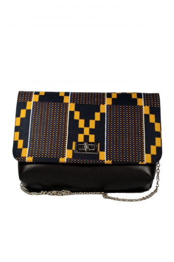 Kente African Print Black Leather Bag XORLALI by Naborhi