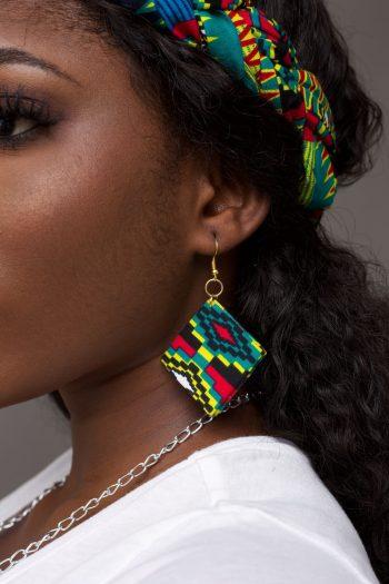 Kente Earrings and with Braided Headband - Azizi by Naborhi