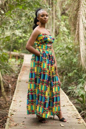 Kente Print One Shoulder Crop Top and Matching Maxi Skirt - Azizi by Naborhi