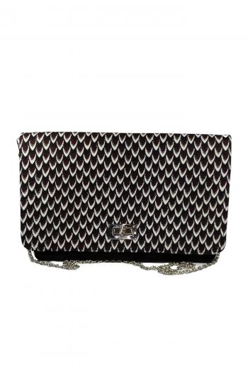 MISAN African Print Ankara Black Suede Leather Handbag by Naborhi