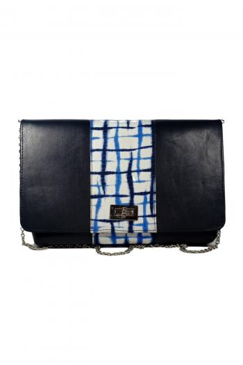 SHUWA African Print Adire Handbag in Blue Leather by Naborhi