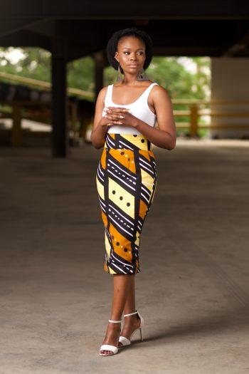 TAIWO Pencil Skirt in African Print