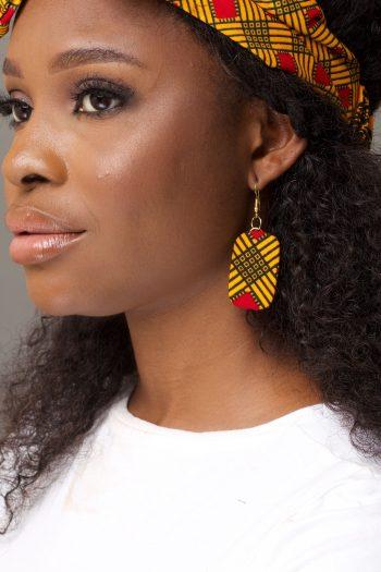 Yellow African Print Ankara Earrings by Naborhi
