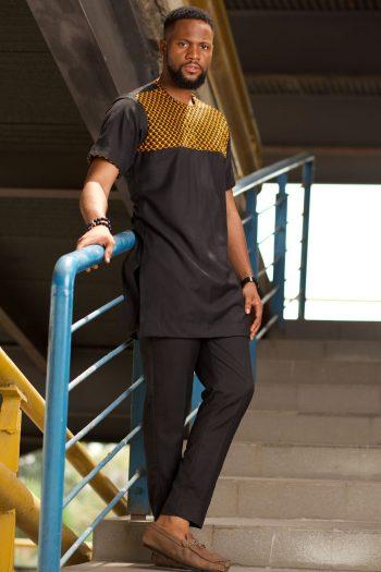 Yellow and Black Ankara Suit for Men - TAJU by Naborhi