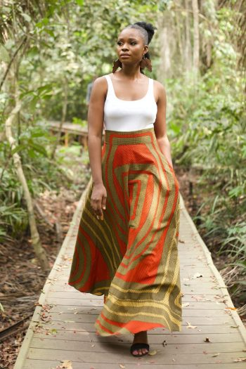 African Print Flared Maxi Skirt in Orange Ankara Print by Naborhi - African Print Clothing for Women