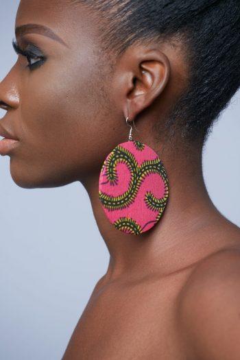 Aina African Circle Earrings Pink