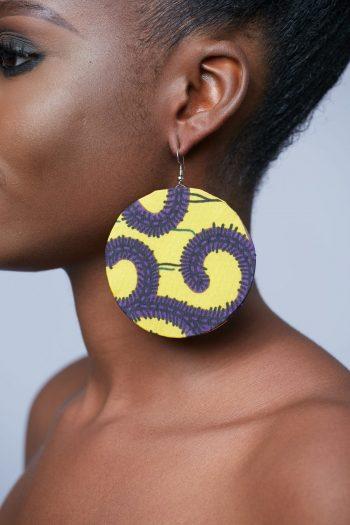 Aina Ankara Circle Earrings in Yellow