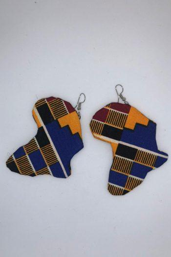Akinyi Kente Africa Map Earrings