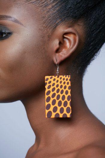 Fana Ankara Rectangle Earrings Orange