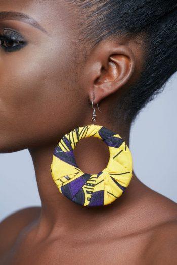 Hediye Ankara Earrings Yellow