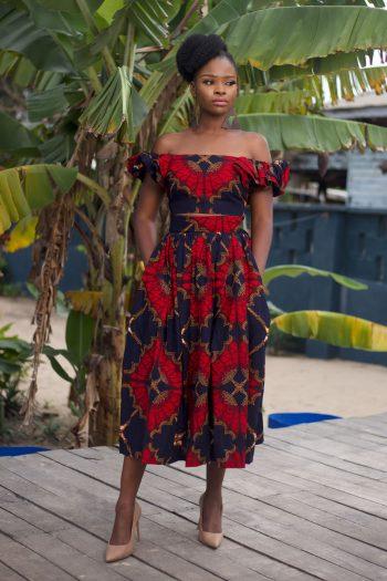 African Print Ankara Off Shoulder Crop Top and Midi Skirt by Naborhi - Demi