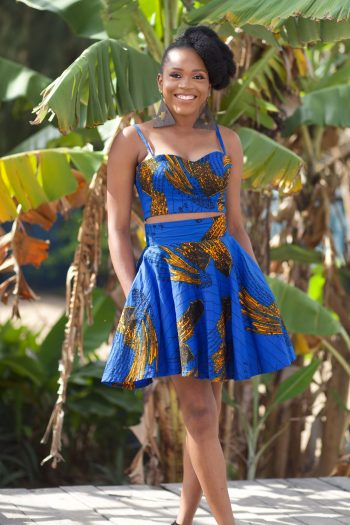 African Print Ankara Short Flared Skirt in Blue Ankara by Naborhi - Danai