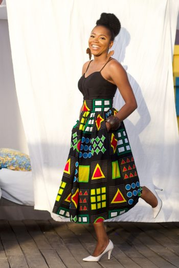 African Skirt Styles - African Midi skirt with pockets Azuka by Naborhi
