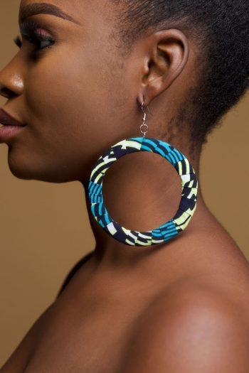 Abeni African Print Ankara Hoop Earrings - African Accessories for Women - Naborhi