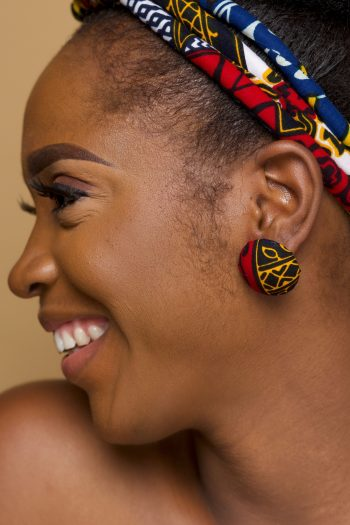 African Print Button Stud Earrings Dayo by Naborhi
