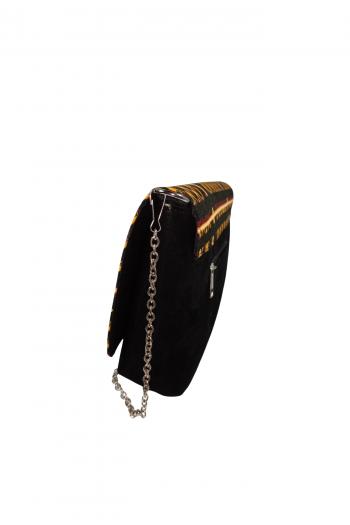 AZU Yellow and Black African Print Ankara Suede Clutch Handbag by Naborhi