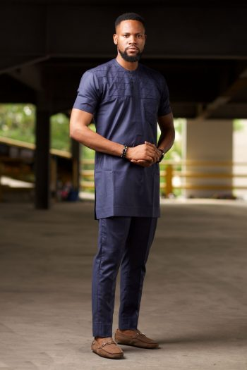 African Mens Short Sleeve Suit in Blue - BASSEY by Naborhi