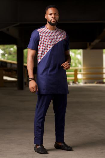 African Short Sleeve Mens Suit in Blue - HAJI by Naborhi