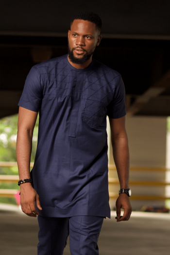 Blue African Mens Shirt BASSEY by Naborhi