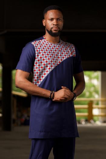 HAJI Blue Short Sleeve African Print Ankara Shirt for Men