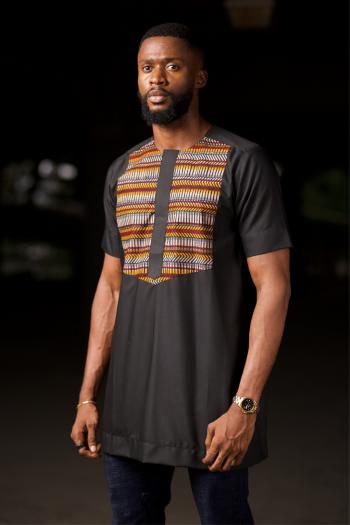 MAKU African Print Ankara Shirt Black by Naborhi