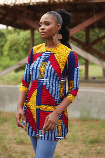 MUNA African Print Ankara Open Back Tunic Top by Naborhi