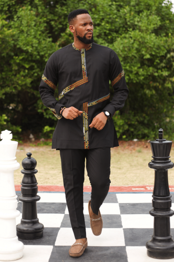 REHEMA African Suit for Men with Brown and Green Ankara Stripe By Naborhi