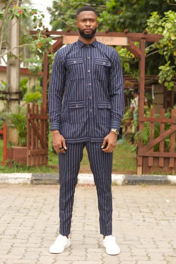 Tolu Pinstripe African Suit