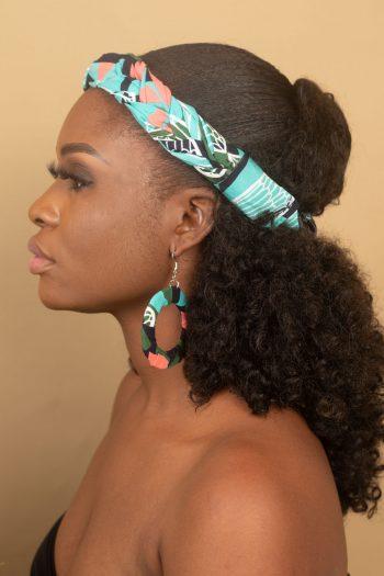African Print Ankara Hoop Earring with Matching Braided Headband NAEEMAH by Naborhi