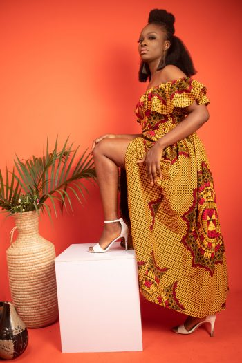 African Print Ankara Maxi Skirt with Side Split and Matching Off Shoulder Top in Yellow Ankara AKILI by Naborhi