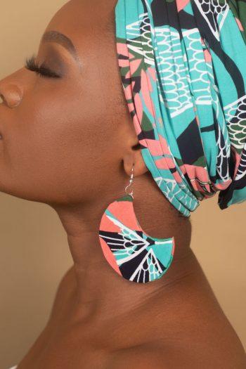 African Print Head Wrap and Earring in Floral Ankara Print NAEEMAH by Naborhi