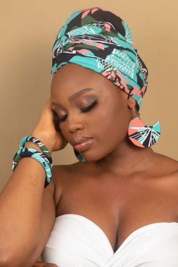 NAEEMAH African Print Ankara Headwrap Bangles and Earrings by Naborhi