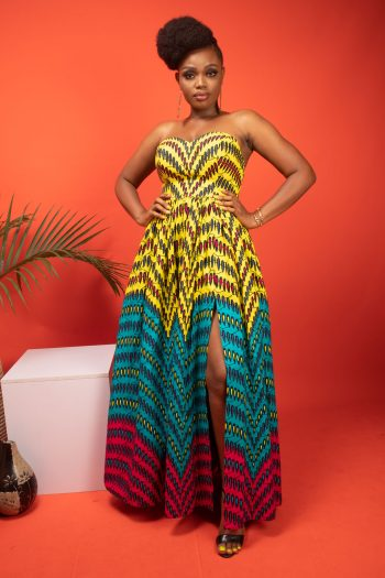Strapless African Print Maxi Dress ZENDAYA By Naborhi