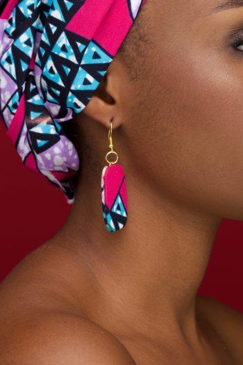 Adana African Print Ankara Earrings - Pink and Blue. by Naborhi