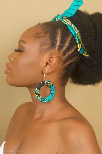 Temi African Print Ankara Tie Headband and Hoop Earrings by Naborhi