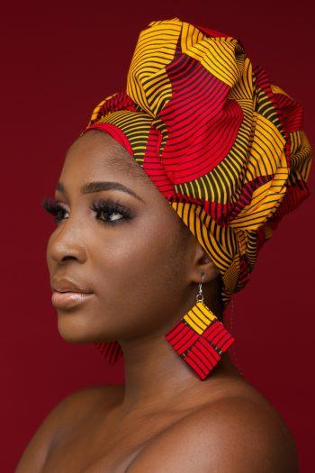 Zarina African Print Ankara Head Wrap and Mathing Diamond Earrings by Naborhi
